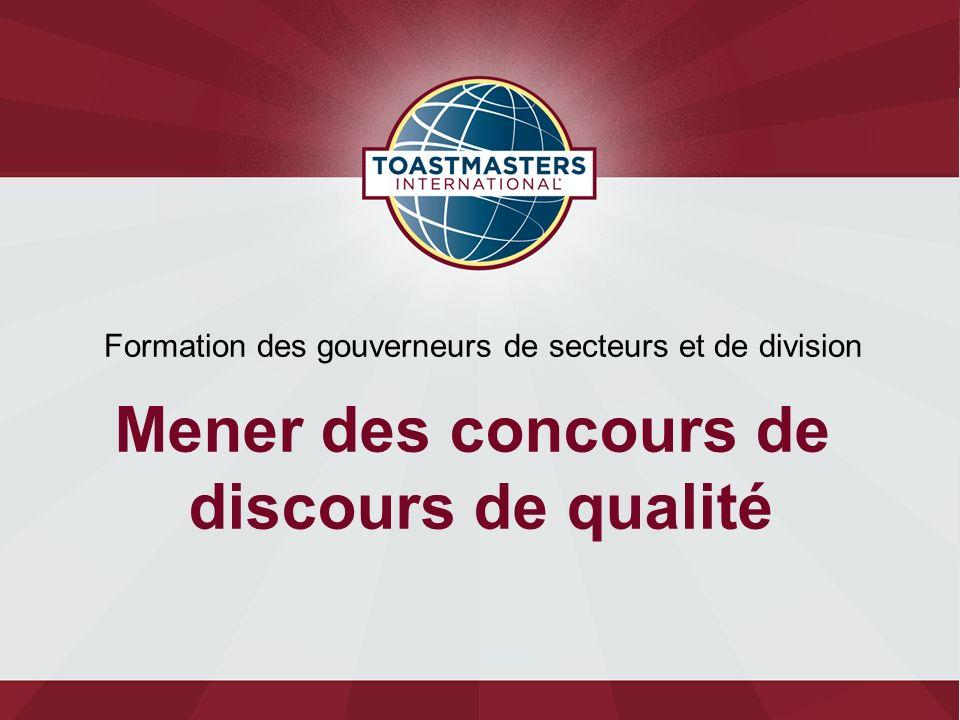 Formation des gouverneurs de secteurs et de division Mener des concours de discours de qualité