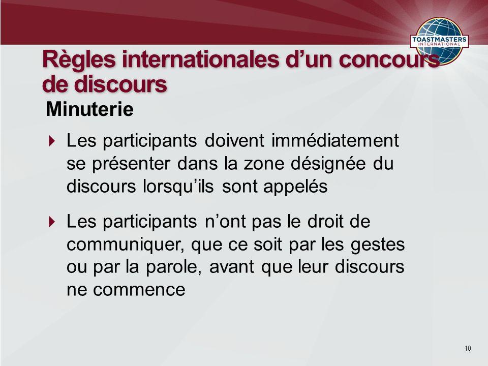 10 Règles internationales dun concours de discours Les participants doivent immédiatement se présenter dans la zone désignée du discours lorsquils son