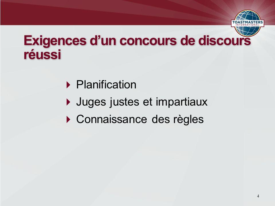 Planification Juges justes et impartiaux Connaissance des règles Exigences dun concours de discours réussi 4