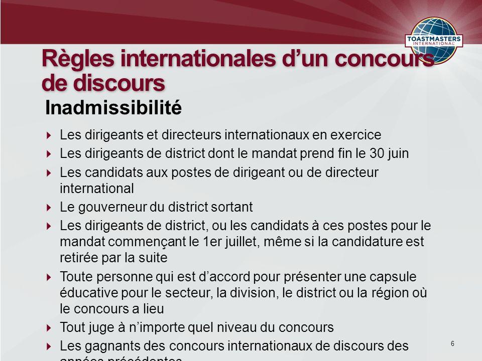 7 Règles internationales dun concours de discours Les participants doivent préparer eux-mêmes un discours de 5 à 7 minutes.