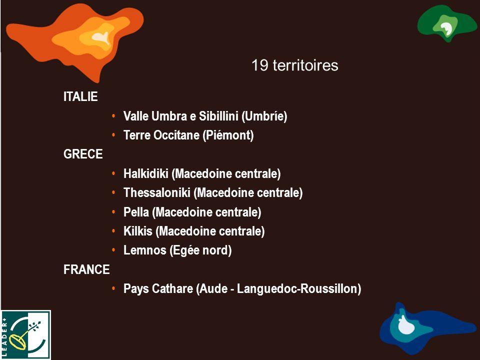 Marca de Calidad Territorial Europea Marque de Qualité Territoriale Européenne Marchio di Qualità Territoriale Europea σημάδι της ευρωπαϊκής εδαφικής ποιότητας 19 territoires ITALIE Valle Umbra e Sibillini (Umbríe) Terre Occitane (Piémont) GRECE Halkidiki (Macedoine centrale) Thessaloniki (Macedoine centrale) Pella (Macedoine centrale) Kilkis (Macedoine centrale) Lemnos (Egée nord) FRANCE Pays Cathare (Aude - Languedoc-Roussillon)