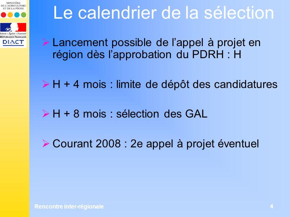 Rencontre inter-régionale 4 Le calendrier de la sélection Lancement possible de lappel à projet en région dès lapprobation du PDRH : H H + 4 mois : limite de dépôt des candidatures H + 8 mois : sélection des GAL Courant 2008 : 2e appel à projet éventuel