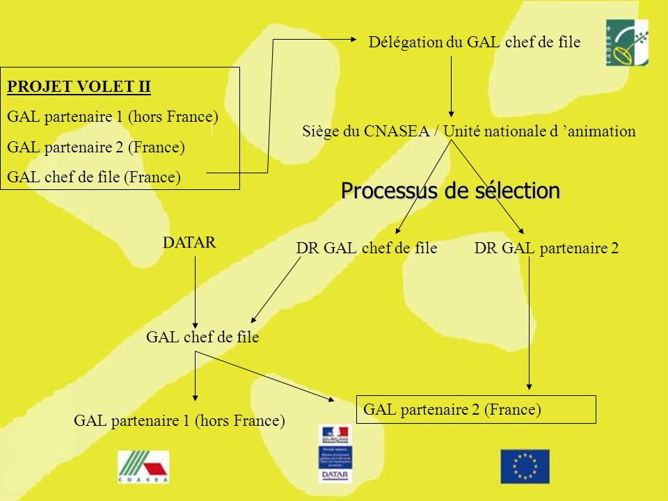 PROJET VOLET II GAL partenaire 1 (hors France) GAL partenaire 2 (France) GAL chef de file (France) Délégation du GAL chef de file DR GAL partenaire 2DR GAL chef de file Siège du CNASEA / Unité nationale d animation GAL chef de file GAL partenaire 2 (France) GAL partenaire 1 (hors France) DATAR Processus de sélection