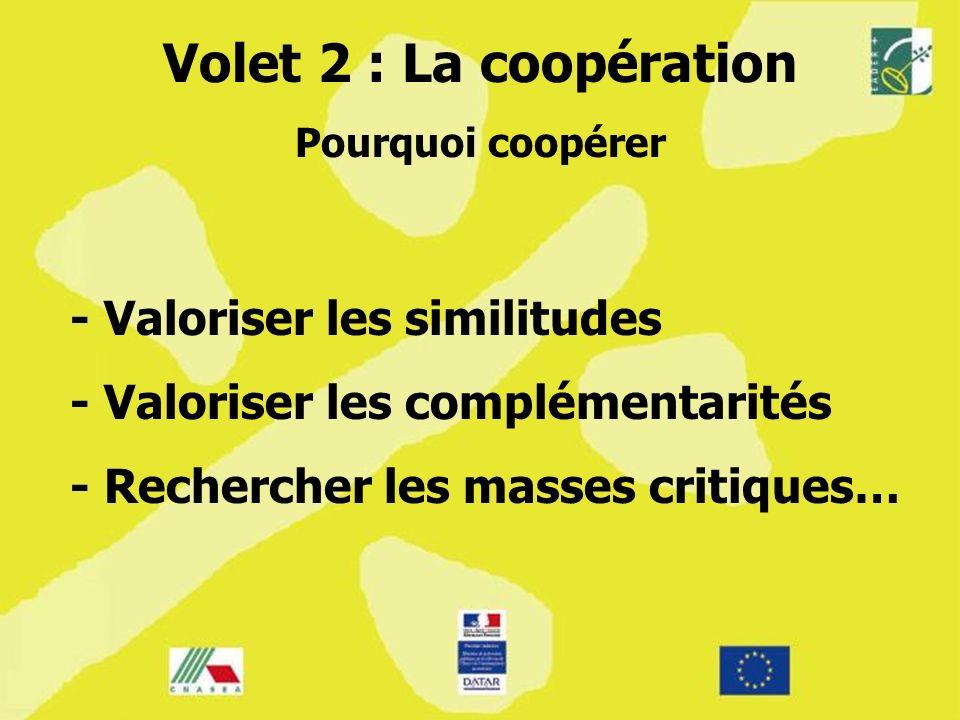Pourquoi coopérer - Valoriser les similitudes - Valoriser les complémentarités - Rechercher les masses critiques…