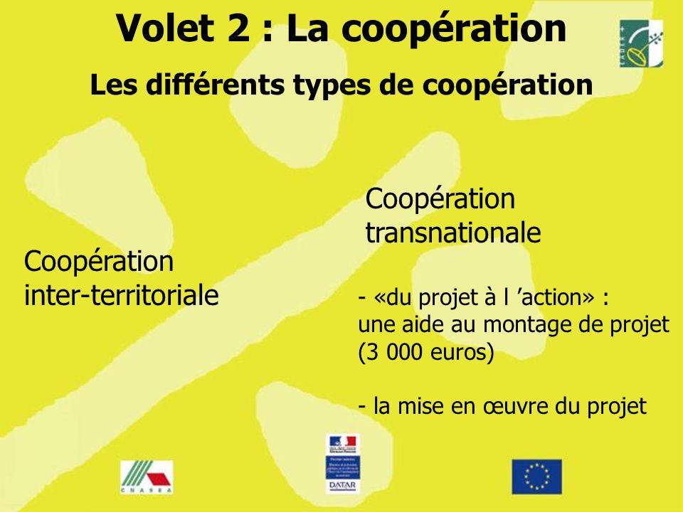 Volet 2 : La coopération Les différents types de coopération Coopération inter-territoriale Coopération transnationale - «du projet à l action» : une aide au montage de projet (3 000 euros) - la mise en œuvre du projet