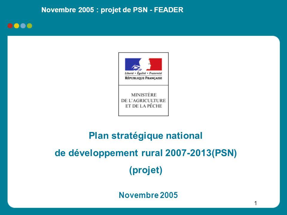 Novembre 2005 : projet de PSN - FEADER 22 Axe 2 - Amélioration de lenvironnement (1/2) Préserver létat des ressources naturelles par une agriculture durable : protéger la biodiversité remarquable (réseau Natura 2000) préserver et restaurer le bon état des eaux (objectifs de la directive cadre sur leau) par une action ciblée protéger les sols améliorer les pratiques agricoles en vue dun effet global sur la préservation de la biodiversité et de la ressource en eau contribuer à la limitation des gaz à effet de serre Finalité globale : préserver un espace rural agricole et forestier varié et de qualité, en recherchant un équilibre entre les activités humaines et lutilisation durable des ressources naturelles III– Priorités dintervention du FEADER