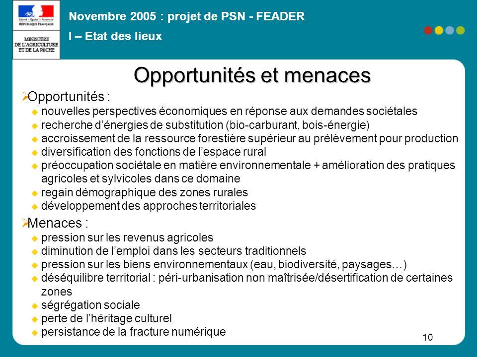 Novembre 2005 : projet de PSN - FEADER 10 Opportunités : nouvelles perspectives économiques en réponse aux demandes sociétales recherche dénergies de