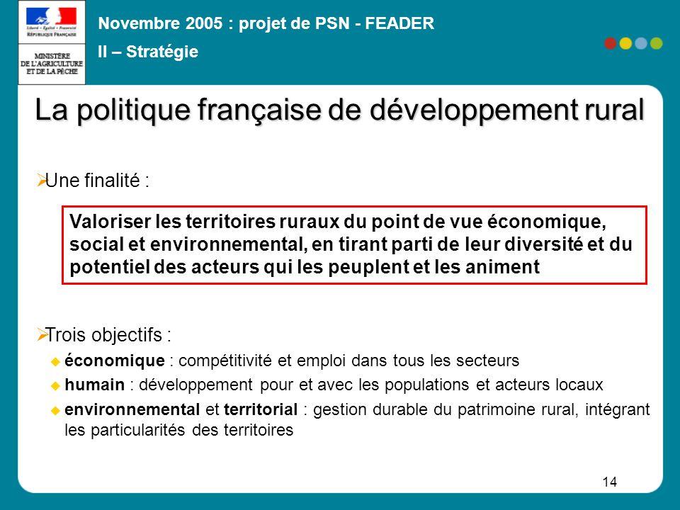 Novembre 2005 : projet de PSN - FEADER 14 La politique française de développement rural Une finalité : Trois objectifs : économique : compétitivité et