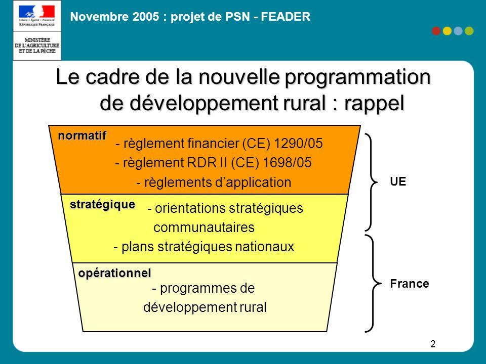 Novembre 2005 : projet de PSN - FEADER 23 Concourir à loccupation équilibrée de lespace : assurer la poursuite de lactivité agricole dans les zones difficiles menacées de déprise Promouvoir la forêt comme instrument daménagement durable de lespace : protéger la biodiversité remarquable (réseau Natura 2000) répondre aux enjeux eau, biodiversité, protection des sols prévenir les risques naturels Pour appuyer la mise en œuvre : animation, formation, appropriation locale (soutien via axes 1 et 3) Axe 2 - Amélioration de lenvironnement (2/2) III– Priorités dintervention du FEADER