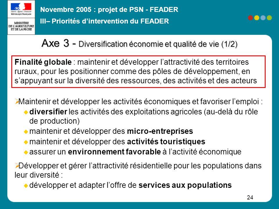 Novembre 2005 : projet de PSN - FEADER 24 Axe 3 - Diversification économie et qualité de vie (1/2) Maintenir et développer les activités économiques e
