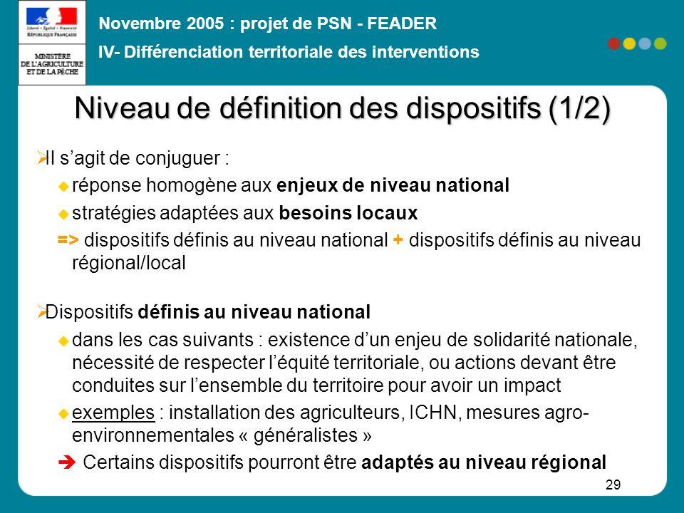 Novembre 2005 : projet de PSN - FEADER 29 Niveau de définition des dispositifs (1/2) Il sagit de conjuguer : réponse homogène aux enjeux de niveau nat
