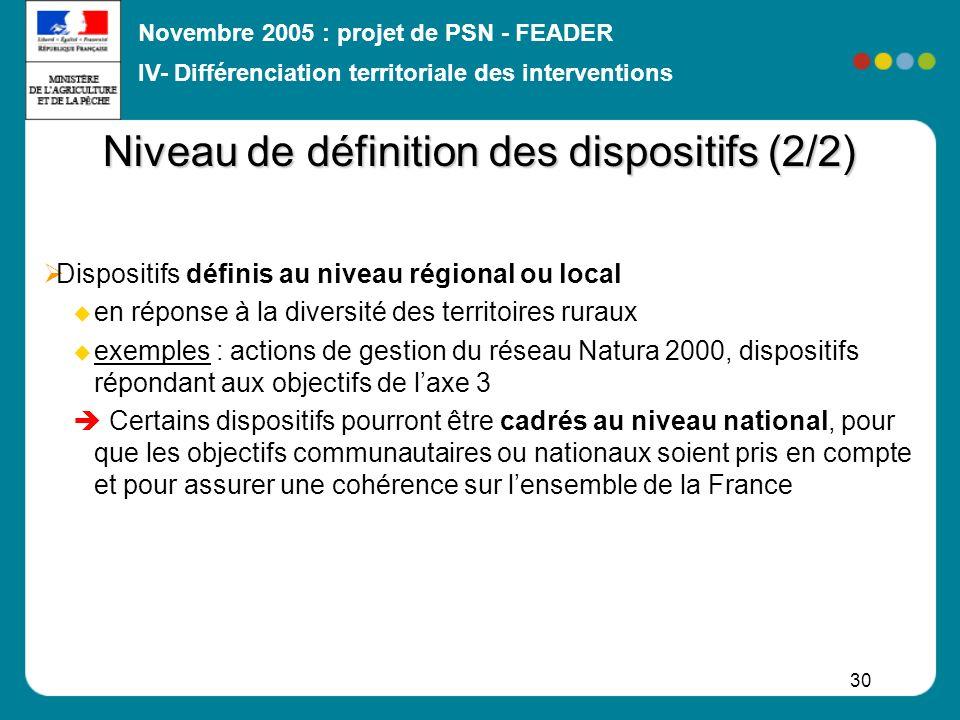 Novembre 2005 : projet de PSN - FEADER 30 Niveau de définition des dispositifs (2/2) Dispositifs définis au niveau régional ou local en réponse à la d
