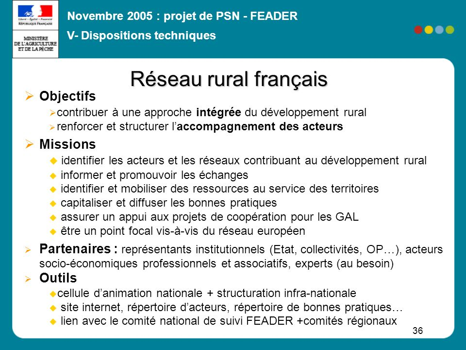 Novembre 2005 : projet de PSN - FEADER 36 Réseau rural français Objectifs contribuer à une approche intégrée du développement rural renforcer et struc