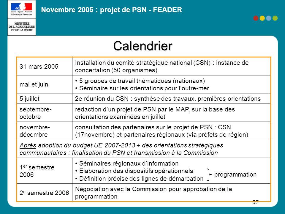 Novembre 2005 : projet de PSN - FEADER 37 Calendrier 31 mars 2005 Installation du comité stratégique national (CSN) : instance de concertation (50 org