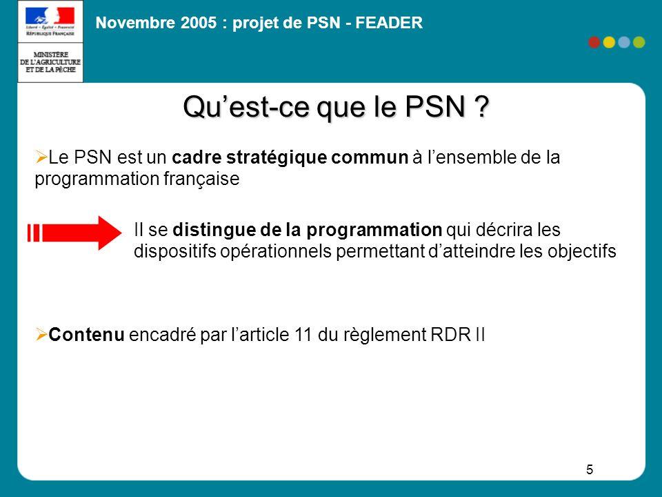 Novembre 2005 : projet de PSN - FEADER 5 Quest-ce que le PSN ? Le PSN est un cadre stratégique commun à lensemble de la programmation française Il se