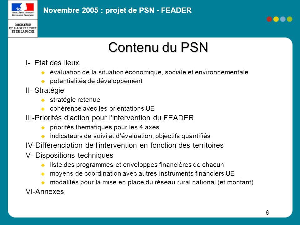 Novembre 2005 : projet de PSN - FEADER 37 Calendrier 31 mars 2005 Installation du comité stratégique national (CSN) : instance de concertation (50 organismes) mai et juin 5 groupes de travail thématiques (nationaux) Séminaire sur les orientations pour loutre-mer 5 juillet2e réunion du CSN : synthèse des travaux, premières orientations septembre- octobre rédaction dun projet de PSN par le MAP, sur la base des orientations examinées en juillet novembre- décembre consultation des partenaires sur le projet de PSN : CSN (17novembre) et partenaires régionaux (via préfets de région) Après adoption du budget UE 2007-2013 + des orientations stratégiques communautaires : finalisation du PSN et transmission à la Commission 1 er semestre 2006 Séminaires régionaux dinformation Elaboration des dispositifs opérationnels Définition précise des lignes de démarcation 2 e semestre 2006 Négociation avec la Commission pour approbation de la programmation programmation