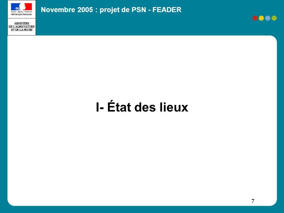 Novembre 2005 : projet de PSN - FEADER 8 91,9% du territoire 58,8% du territoire relève de lespace à dominante rurale 33,1% du péri-urbain Modes doccupation du territoire La SAU occupe 53,2% de la surface de la France métropolitaine Les sols boisés 28,1% 22,8 M dhabitants (39% de la population française) 10,5 M dans lespace à dominante rurale 12,3 M dans le péri-urbain Les activités productives Près de 10M dactifs (RP 1999) 5,8% agriculteurs exploitants 3% artisans, commerçants, chefs dentreprise non agricoles 7,8% de cadres 20,7% de professions intermédiaires 29,4% demployés 33,3% douvriers Agriculture, sylviculture, IAA, industrie du bois Valeur ajoutée brute : 72 Md en 2004 (5% du PIB) 1,8 M dactifs sur lensemble du territoire I – Etat des lieux Lespace rural en quelques chiffres