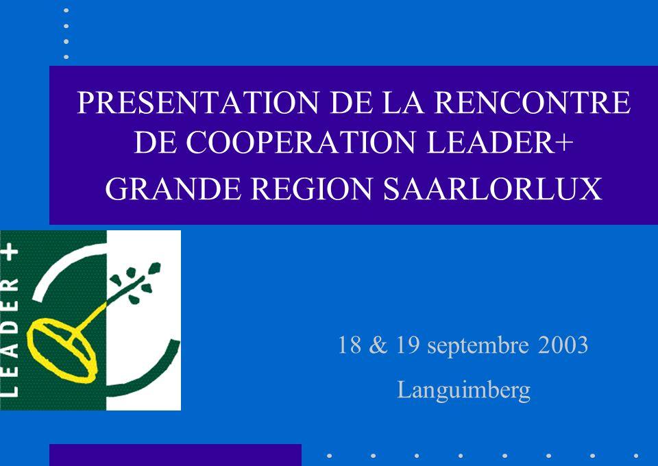 18 & 19 septembre 2003 Languimberg PRESENTATION DE LA RENCONTRE DE COOPERATION LEADER+ GRANDE REGION SAARLORLUX