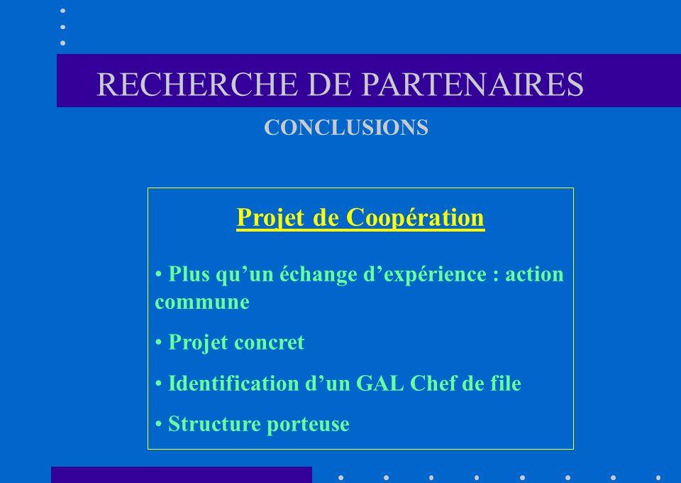 Projet de Coopération Plus quun échange dexpérience : action commune Projet concret Identification dun GAL Chef de file Structure porteuse CONCLUSIONS RECHERCHE DE PARTENAIRES
