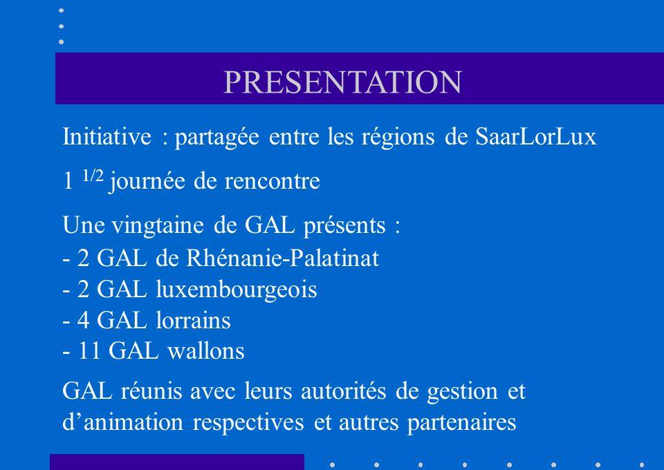 Initiative : partagée entre les régions de SaarLorLux 1 1/2 journée de rencontre Une vingtaine de GAL présents : - 2 GAL de Rhénanie-Palatinat - 2 GAL luxembourgeois - 4 GAL lorrains - 11 GAL wallons GAL réunis avec leurs autorités de gestion et danimation respectives et autres partenaires PRESENTATION