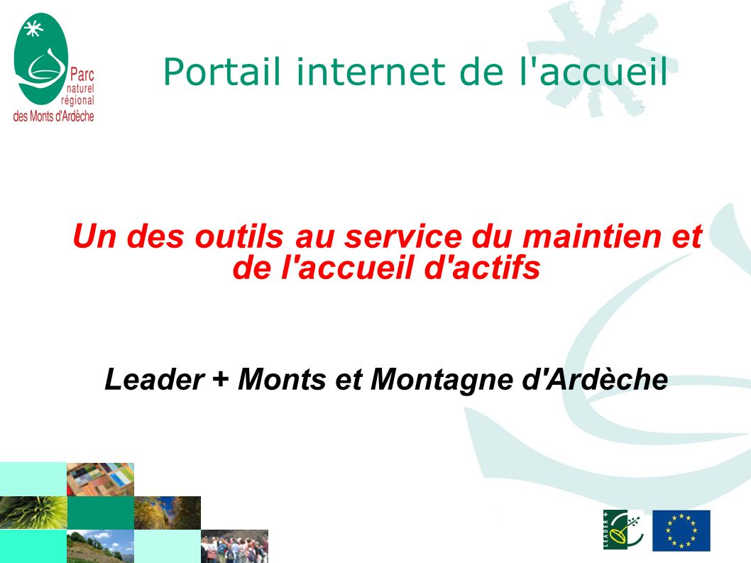 Portail internet de l'accueil Un des outils au service du maintien et de l'accueil d'actifs Leader + Monts et Montagne d'Ardèche