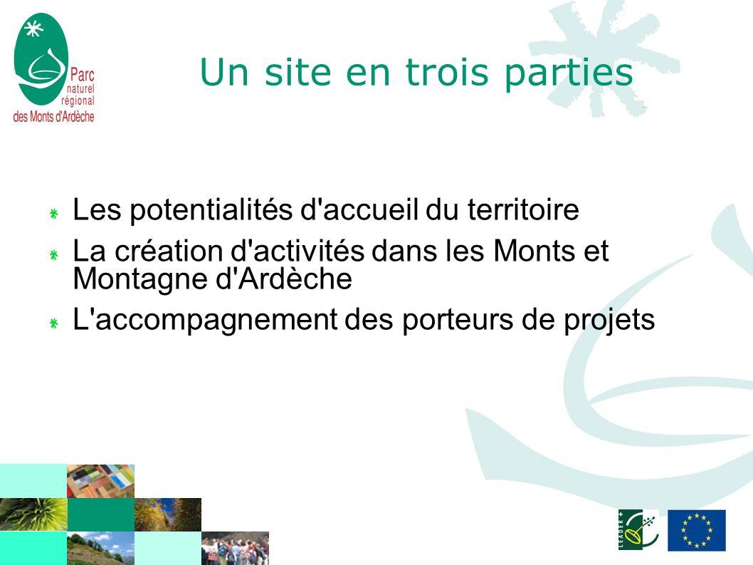 Un site en trois parties Les potentialités d accueil du territoire La création d activités dans les Monts et Montagne d Ardèche L accompagnement des porteurs de projets