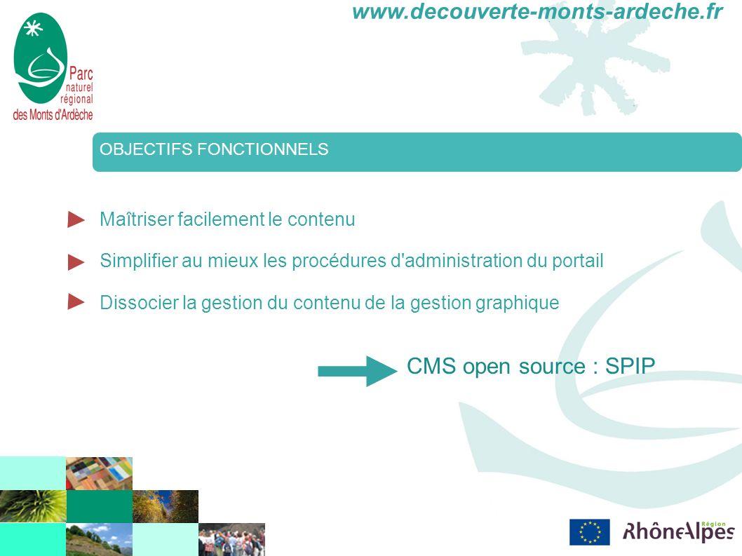 www.decouverte-monts-ardeche.fr OBJECTIFS FONCTIONNELS Maîtriser facilement le contenu Simplifier au mieux les procédures d administration du portail Dissocier la gestion du contenu de la gestion graphique CMS open source : SPIP