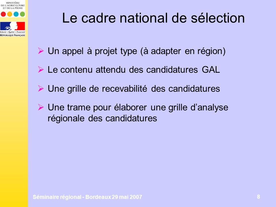 Séminaire régional - Bordeaux 29 mai 2007 8 Le cadre national de sélection Un appel à projet type (à adapter en région) Le contenu attendu des candidatures GAL Une grille de recevabilité des candidatures Une trame pour élaborer une grille danalyse régionale des candidatures