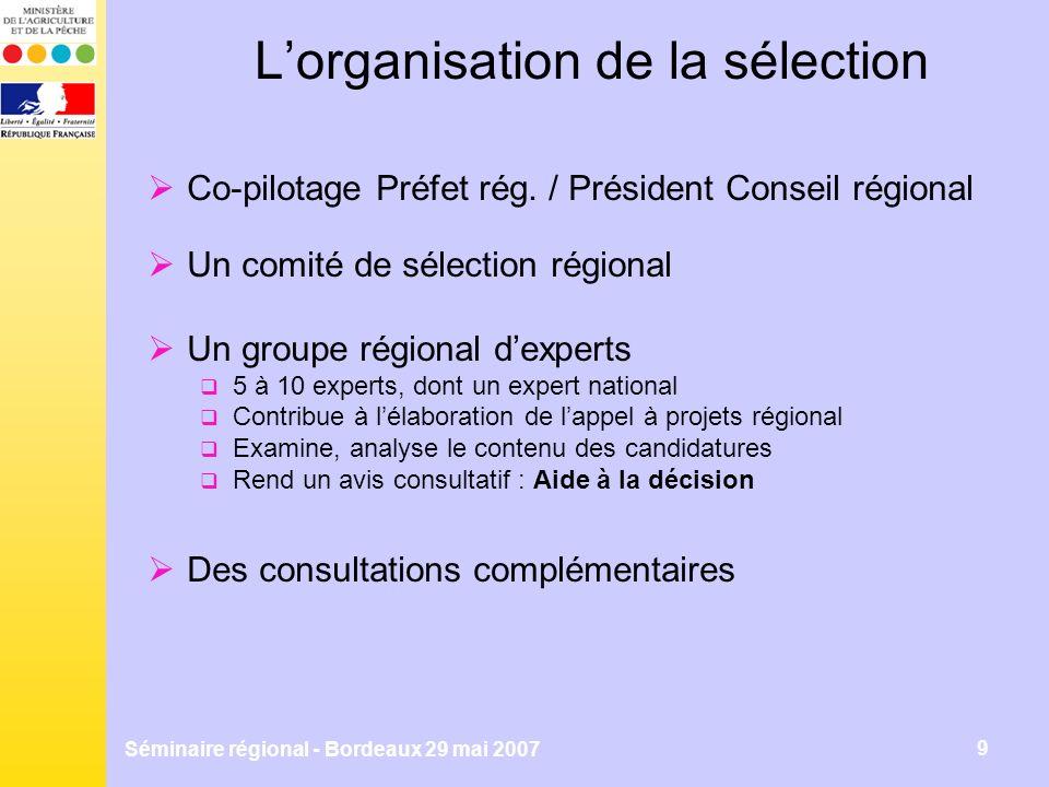 Séminaire régional - Bordeaux 29 mai 2007 9 Lorganisation de la sélection Co-pilotage Préfet rég.
