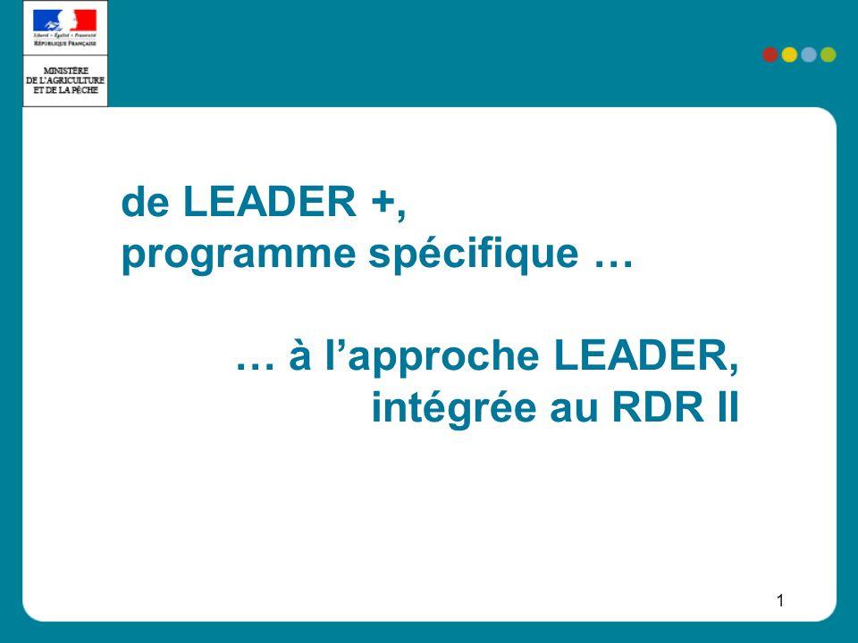 2 Lintégration de LEADER dans le RDR Laxe LEADER (axe 4), est un axe « méthodologique » qui permet de mettre en œuvre : les mesures prévues dans les axes 1, 2 ou 3 des actions non prévues, définies localement, contribuant aux objectifs globaux dun des axes Dans chaque programme : au moins 5% des opérations sélectionnés suivant lapproche LEADER