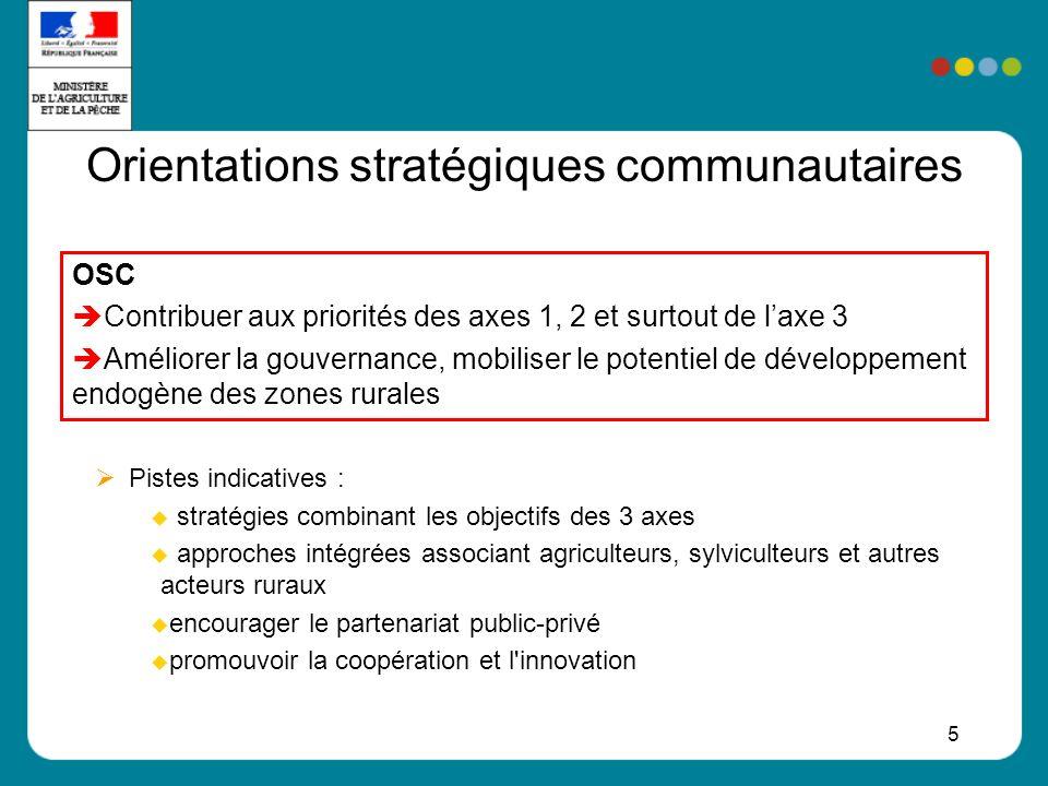 5 Orientations stratégiques communautaires Pistes indicatives : stratégies combinant les objectifs des 3 axes approches intégrées associant agriculteurs, sylviculteurs et autres acteurs ruraux encourager le partenariat public-privé promouvoir la coopération et l innovation OSC Contribuer aux priorités des axes 1, 2 et surtout de laxe 3 Améliorer la gouvernance, mobiliser le potentiel de développement endogène des zones rurales