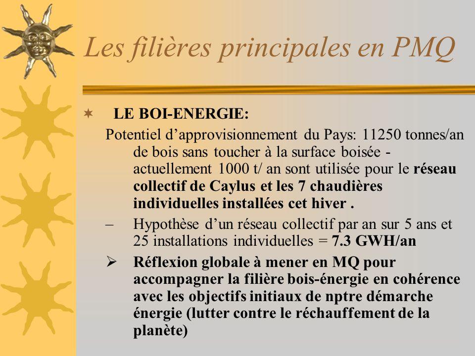 Les filières principales en PMQ LE BOI-ENERGIE: Potentiel dapprovisionnement du Pays: 11250 tonnes/an de bois sans toucher à la surface boisée - actuellement 1000 t/ an sont utilisée pour le réseau collectif de Caylus et les 7 chaudières individuelles installées cet hiver.