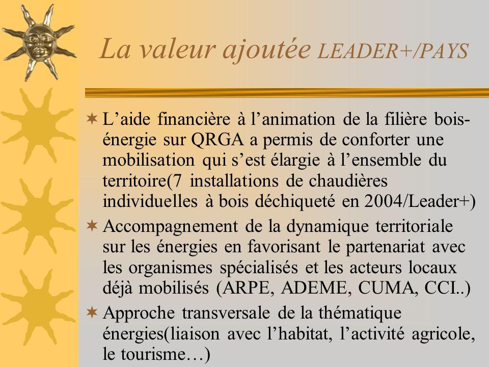 La valeur ajoutée LEADER+/PAYS Laide financière à lanimation de la filière bois- énergie sur QRGA a permis de conforter une mobilisation qui sest élargie à lensemble du territoire(7 installations de chaudières individuelles à bois déchiqueté en 2004/Leader+) Accompagnement de la dynamique territoriale sur les énergies en favorisant le partenariat avec les organismes spécialisés et les acteurs locaux déjà mobilisés (ARPE, ADEME, CUMA, CCI..) Approche transversale de la thématique énergies(liaison avec lhabitat, lactivité agricole, le tourisme…)