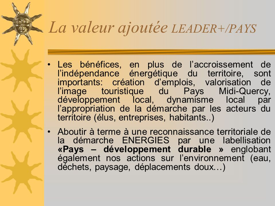 La valeur ajoutée LEADER+/PAYS Les bénéfices, en plus de laccroissement de lindépendance énergétique du territoire, sont importants: création demplois