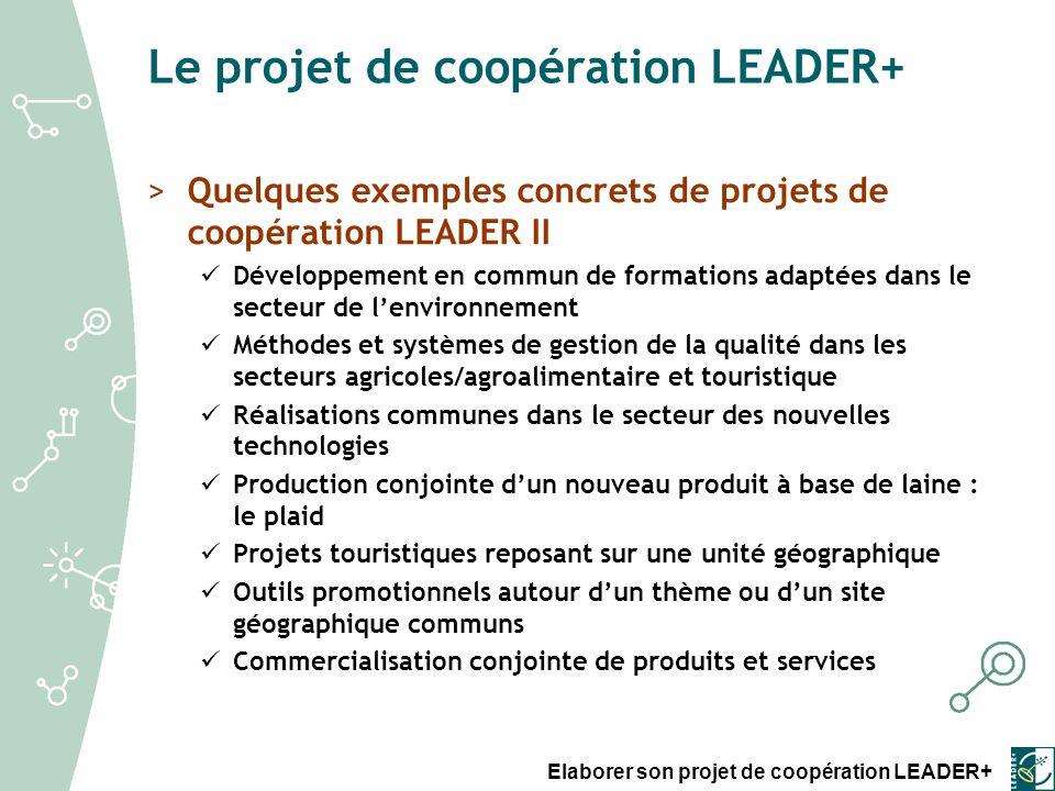 Elaborer son projet de coopération LEADER+ PROJET VOLET II GAL partenaire 1 (hors France) GAL partenaire 2 (France) GAL chef de file (France) Délégation du GAL chef de file DR GAL partenaire 2 DR GAL chef de file Siège du CNASEA / UNA GAL chef de file GAL partenaire 2 (France) GAL partenaire 1 (hors France) DATAR Processus de sélection >La sélection dun projet de Coopération