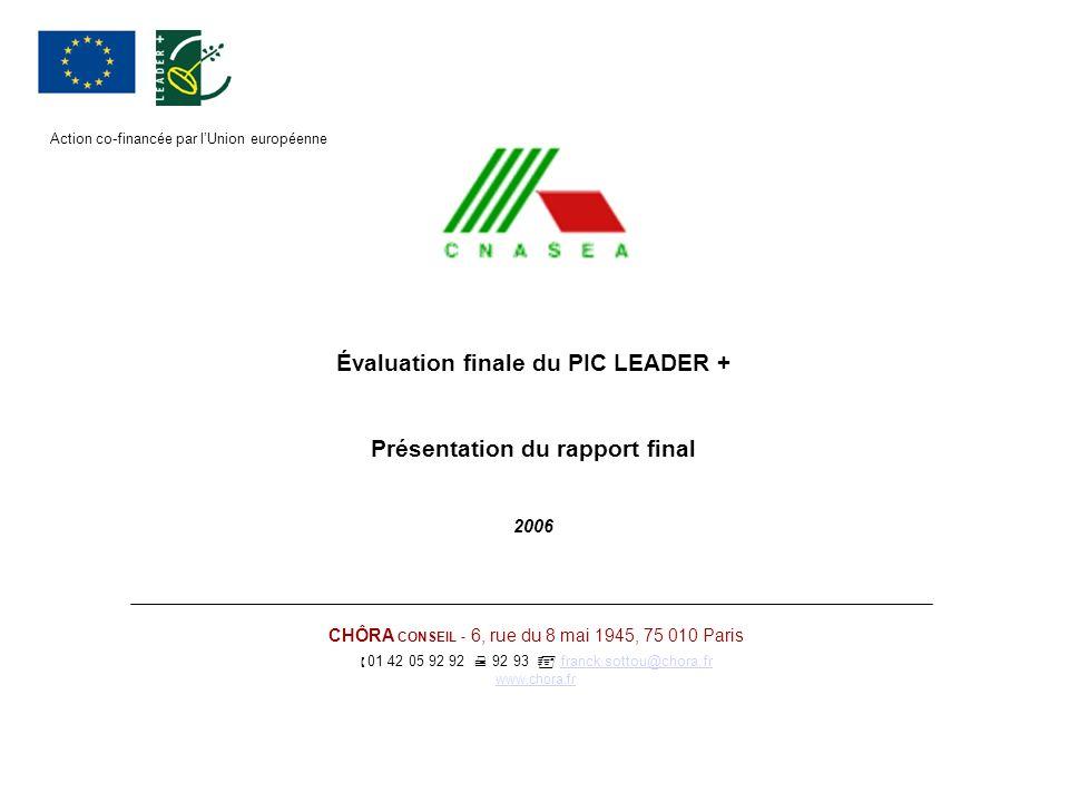 Évaluation finale du PIC LEADER + Présentation du rapport final 2006 CHÔRA CONSEIL - 6, rue du 8 mai 1945, 75 010 Paris 01 42 05 92 92 92 93 franck.so