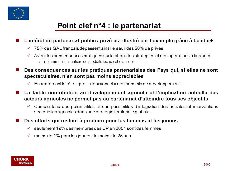 page 6 CHÔRA CONSEIL 2006 Point clef n°4 : le partenariat nLintérêt du partenariat public / privé est illustré par lexemple grâce à Leader+ 75% des GA