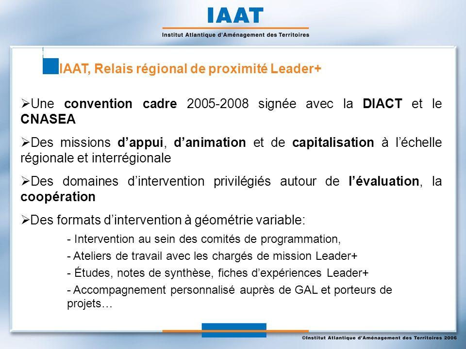 IAAT, Relais régional de proximité Leader+ Une convention cadre 2005-2008 signée avec la DIACT et le CNASEA Des missions dappui, danimation et de capitalisation à léchelle régionale et interrégionale Des domaines dintervention privilégiés autour de lévaluation, la coopération Des formats dintervention à géométrie variable: - Intervention au sein des comités de programmation, - Ateliers de travail avec les chargés de mission Leader+ - Études, notes de synthèse, fiches dexpériences Leader+ - Accompagnement personnalisé auprès de GAL et porteurs de projets…
