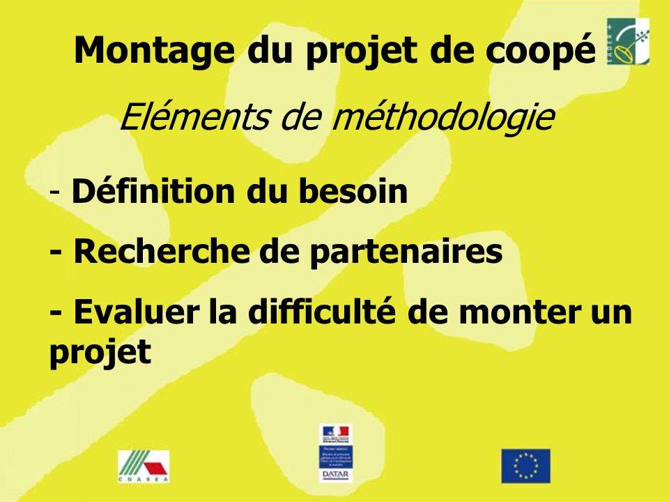 - - Définition du besoin - Recherche de partenaires - Evaluer la difficulté de monter un projet Montage du projet de coopé Eléments de méthodologie