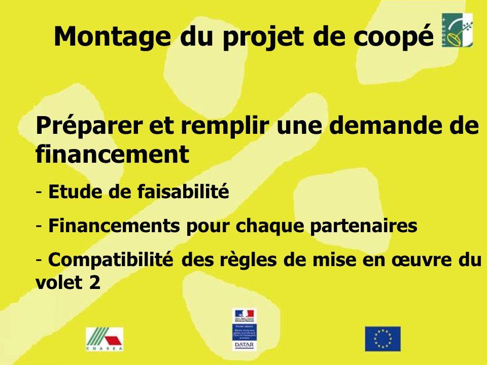 Montage du projet de coopé Préparer et remplir une demande de financement - - Etude de faisabilité - - Financements pour chaque partenaires - - Compat