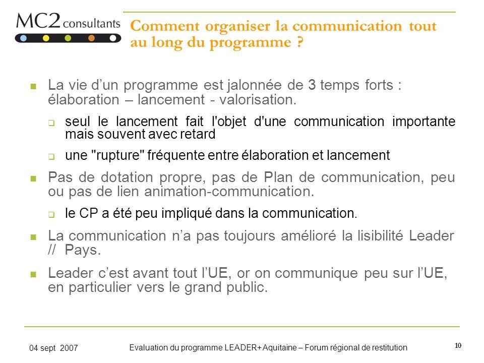 10 04 sept 2007 Evaluation du programme LEADER+ Aquitaine – Forum régional de restitution Comment organiser la communication tout au long du programme