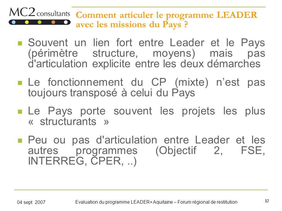 12 04 sept 2007 Evaluation du programme LEADER+ Aquitaine – Forum régional de restitution Comment articuler le programme LEADER avec les missions du P