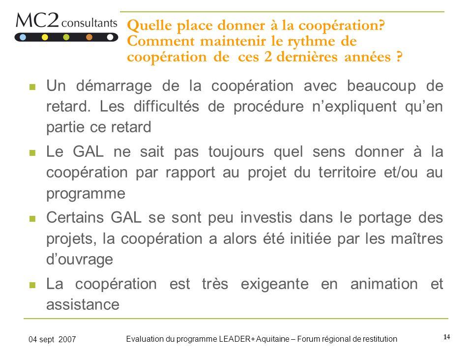 14 04 sept 2007 Evaluation du programme LEADER+ Aquitaine – Forum régional de restitution Quelle place donner à la coopération? Comment maintenir le r