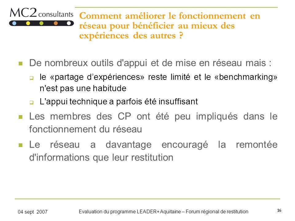 16 04 sept 2007 Evaluation du programme LEADER+ Aquitaine – Forum régional de restitution Comment améliorer le fonctionnement en réseau pour bénéficie