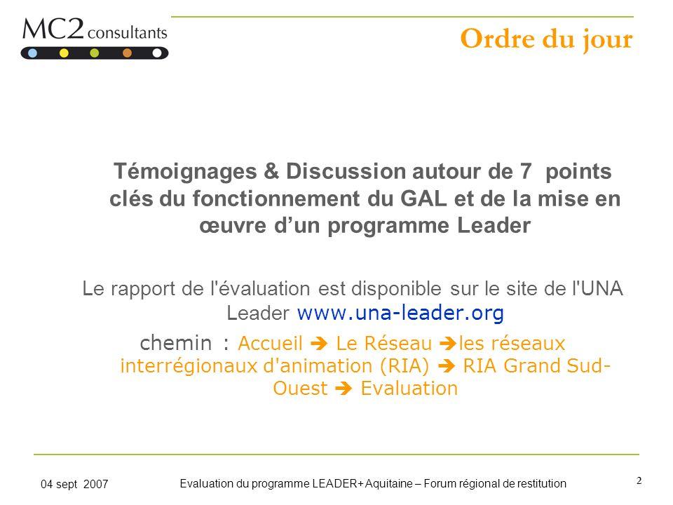 2 04 sept 2007 Evaluation du programme LEADER+ Aquitaine – Forum régional de restitution Ordre du jour Témoignages & Discussion autour de 7 points clé