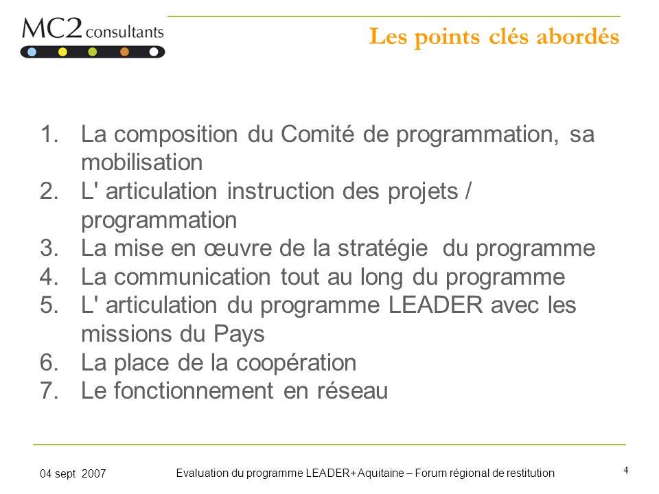 4 04 sept 2007 Evaluation du programme LEADER+ Aquitaine – Forum régional de restitution Les points clés abordés 1.La composition du Comité de program