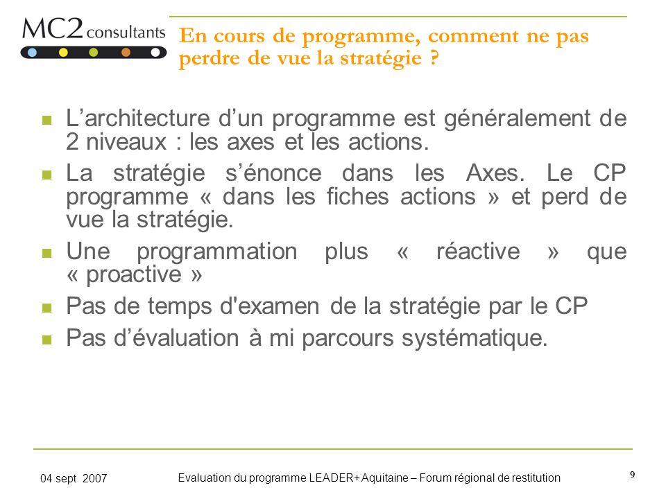 9 04 sept 2007 Evaluation du programme LEADER+ Aquitaine – Forum régional de restitution En cours de programme, comment ne pas perdre de vue la straté