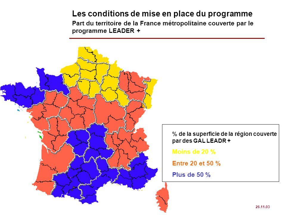 page 13 CHÔRA CONSEIL 26.11.03 Les conditions de mise en place du programme Part du territoire de la France métropolitaine couverte par le programme L