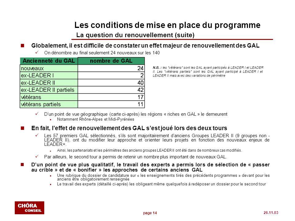 page 14 CHÔRA CONSEIL 26.11.03 Les conditions de mise en place du programme La question du renouvellement (suite) nGlobalement, il est difficile de co
