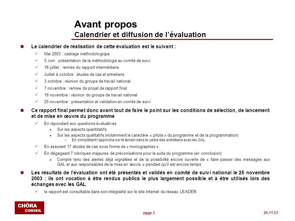 page 14 CHÔRA CONSEIL 26.11.03 Les conditions de mise en place du programme La question du renouvellement (suite) nGlobalement, il est difficile de constater un effet majeur de renouvellement des GAL On dénombre au final seulement 24 nouveaux sur les 140 Dun point de vue géographique (carte ci-après) les régions « riches en GAL » le demeurent l Notamment Rhône-Alpes et Midi-Pyrénées nEn fait, leffet de renouvellement des GAL sest joué lors des deux tours Les 57 premiers GAL sélectionnés, sils sont majoritairement danciens Groupes LEADER II (9 groupes non - LEADER II), ont du modifier leur approche et orienter leurs projets en fonction des nouveaux enjeux de LEADER+.